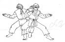 Ken and Ryu Kata - B+W